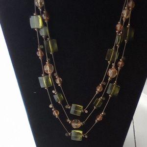 Vtg Olive & Amber Strung Beaded Necklace.
